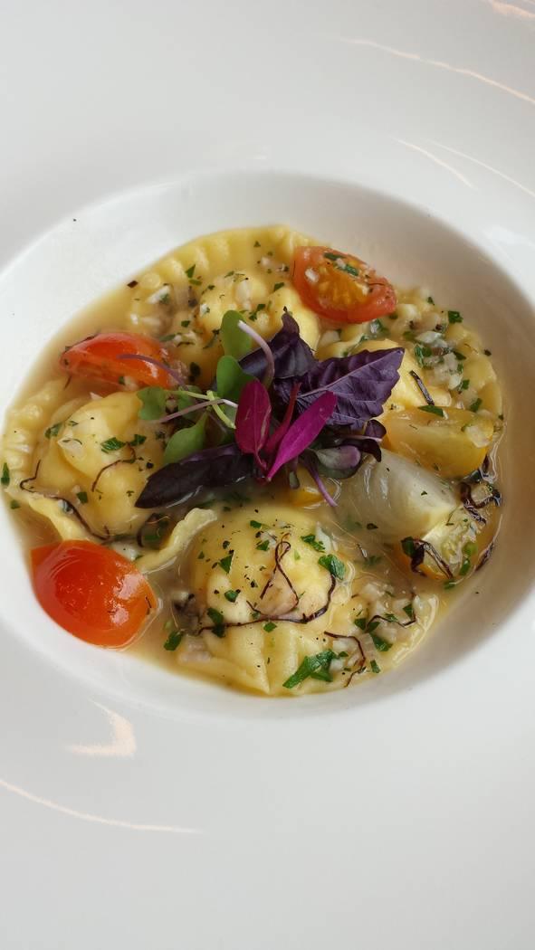 Crab tortellini at STK. Cosmopolitan
