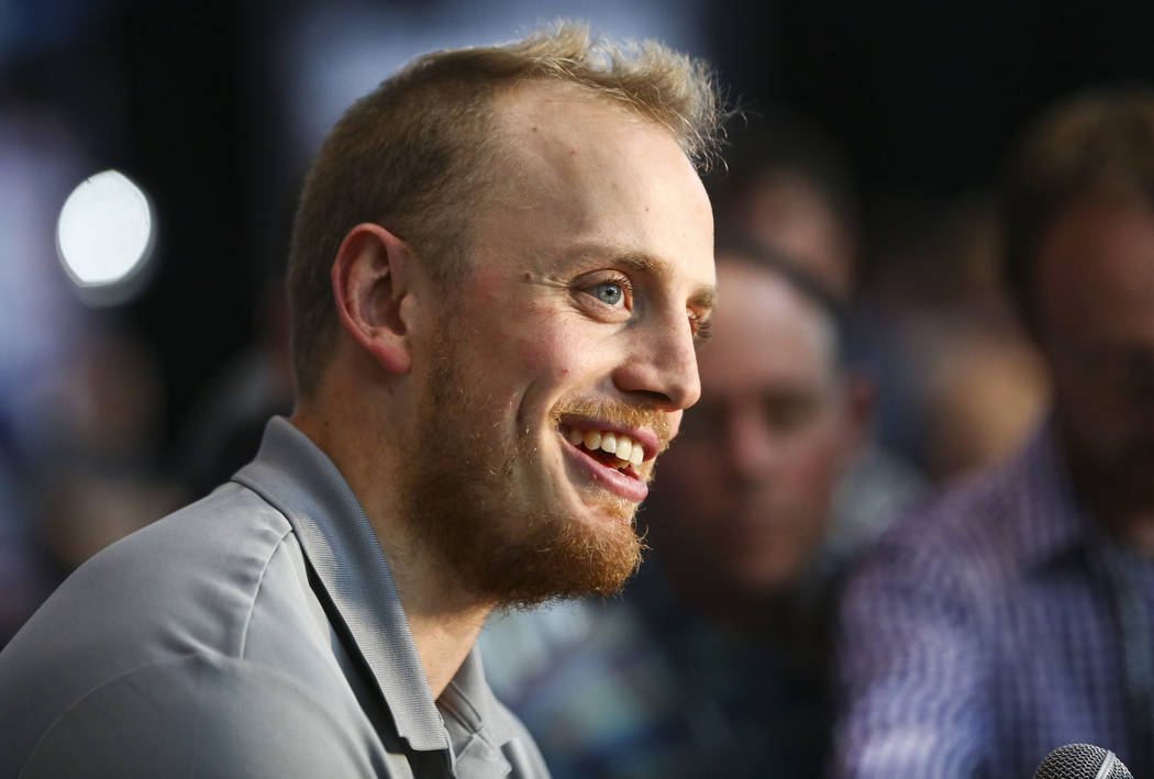 Golden Knights defenseman Nate Schmidt speaks during NHL hockey media day for the Stanley Cup Final at the T-Mobile Arena in Las Vegas on Sunday, May 27, 2018. Chase Stevens Las Vegas Review-Journ ...