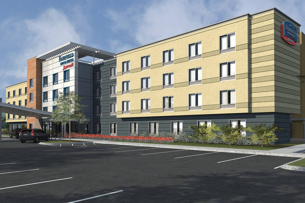 Las Vegas-based Nigro Development plans to build a four-story, 87-room Fairfield Inn hotel, a rendering of which is seen above, in the northwest valley. (PR Plus)