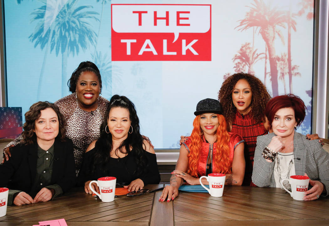 """Host Sheryl Underwood celebrates her birthday on """"The Talk,"""" Friday, October 26, 2018 on the CBS Television Network. From left, Sara Gilbert, Sheryl Underwood, guest co-hosts Salt N ..."""