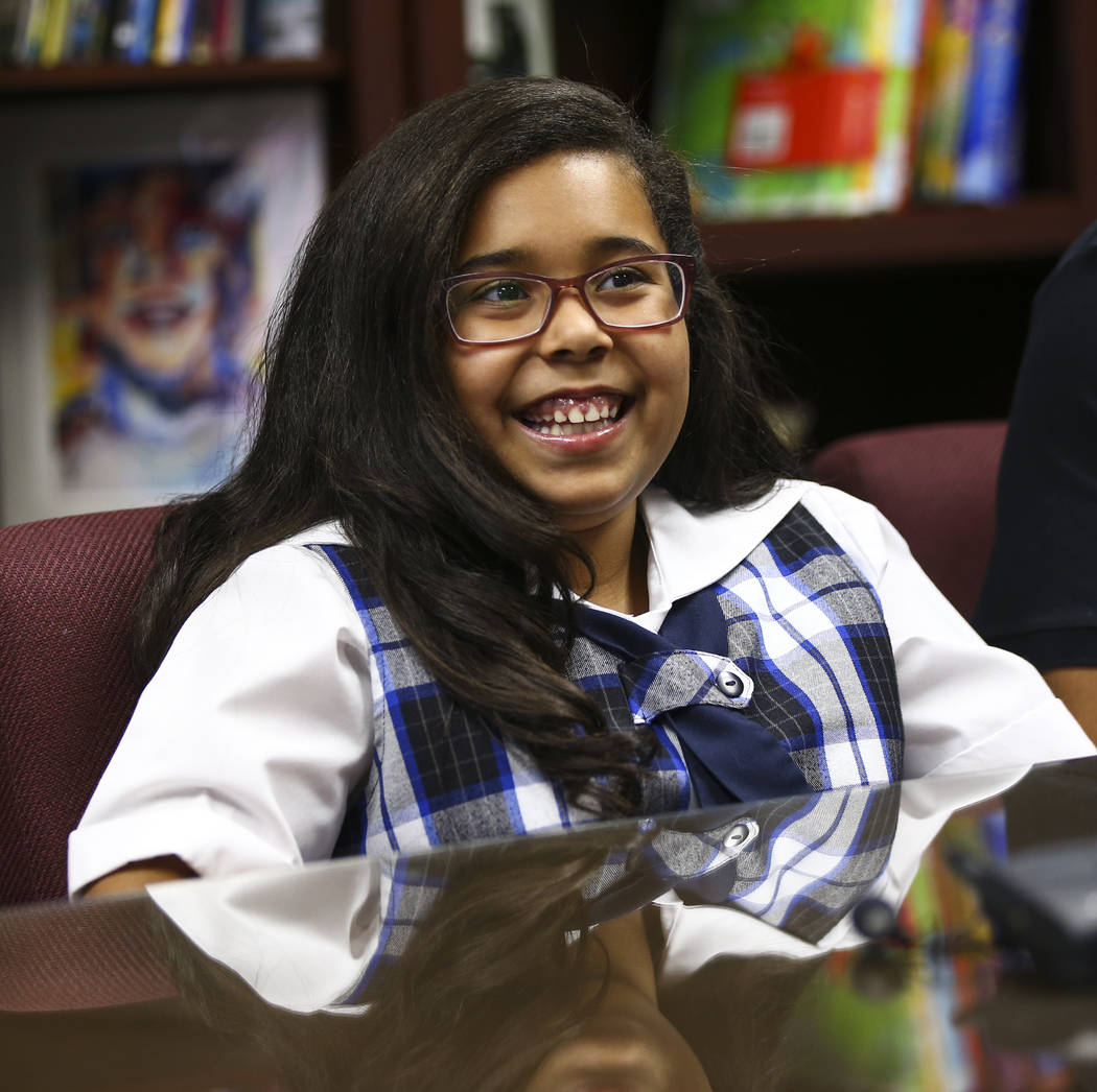 Ten-year-old Aleissya Ruiz talks about her experiences at The Meadows School in Las Vegas on Wednesday, Oct. 24, 2018. Chase Stevens Las Vegas Review-Journal @csstevensphoto