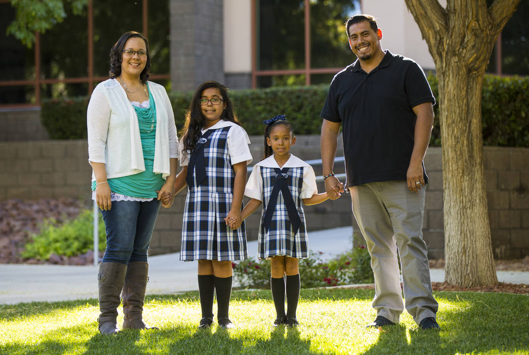 The Ruiz family, from left, Alina, Aleissya, 10, Makayla, 7, and Daniel at The Meadows School in Las Vegas on Wednesday, Oct. 24, 2018. Chase Stevens Las Vegas Review-Journal @csstevensphoto