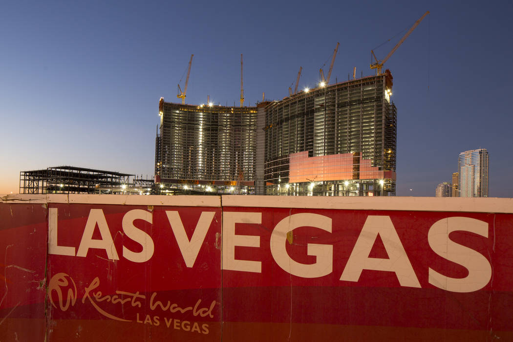 Construction continues at Genting Group's Resorts World Las Vegas on the Strip in Las Vegas on Thursday, Oct. 25, 2018. Richard Brian Las Vegas Review-Journal @vegasphotograph