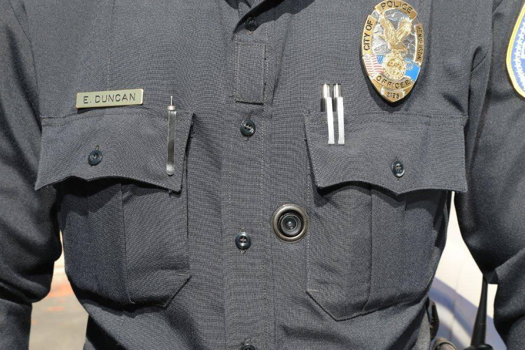 Henderson officer E. Duncan wears his body-worn camera on his uniform. The cameras are part of a newly integrated system required by Senate Bill 176, which went into effect on Sunday, July 1, 2018 ...