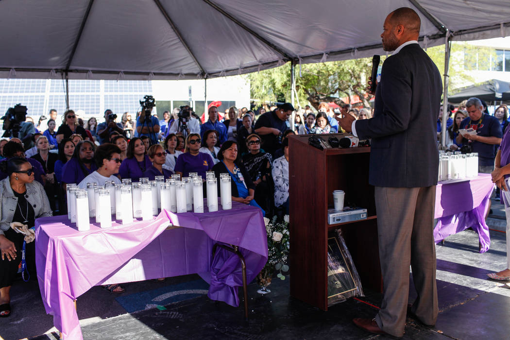 Senator Aaron Ford speaks during a recognition ceremony for UMC Hospital workers and Sunrise Hospital workers at UMC in Las Vegas, Friday, Oct. 6, 2017. Joel Angel Juarez Las Vegas Review-Journal ...