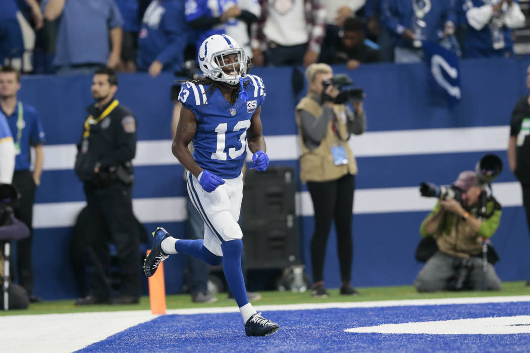 Indianapolis Colts wide receiver T.Y. Hilton (13) scores a touchdown against the Buffalo Bills during the first half of an NFL football game in Indianapolis, Sunday, Oct. 21, 2018. (AP Photo/AJ Mast)