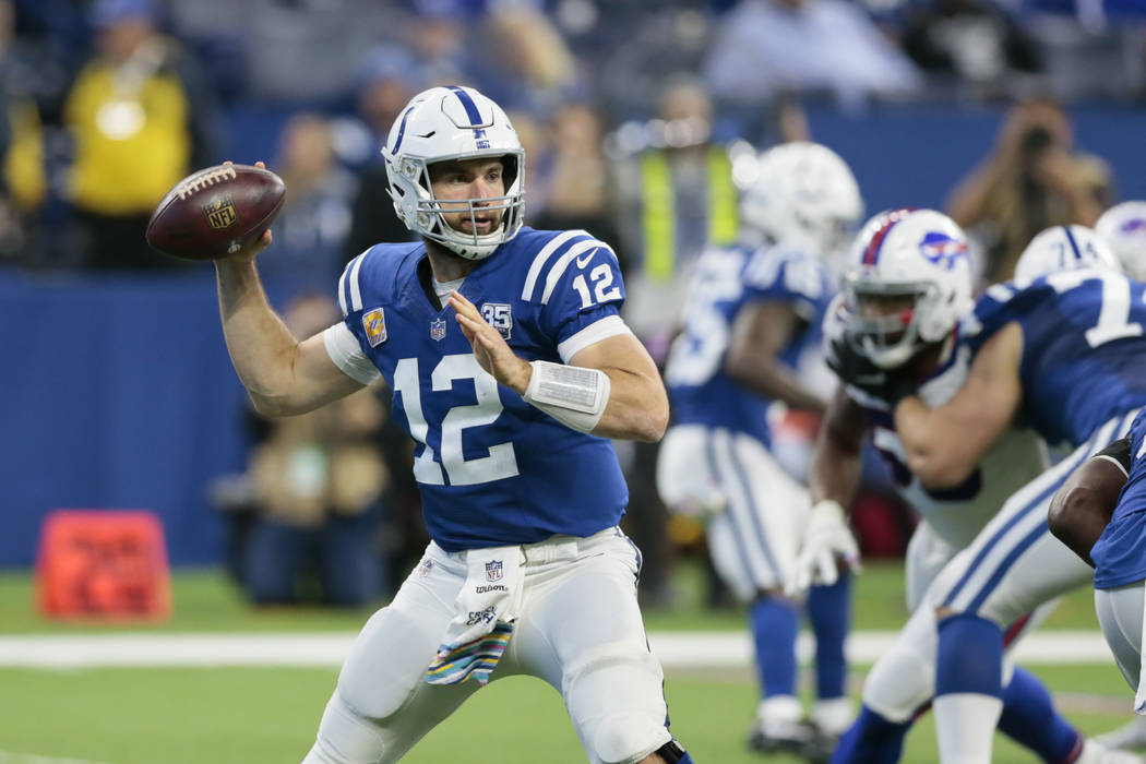 Indianapolis Colts quarterback Andrew Luck (12) throws against the Buffalo Bills during the second half of an NFL football game in Indianapolis, Sunday, Oct. 21, 2018. (AP Photo/AJ Mast)