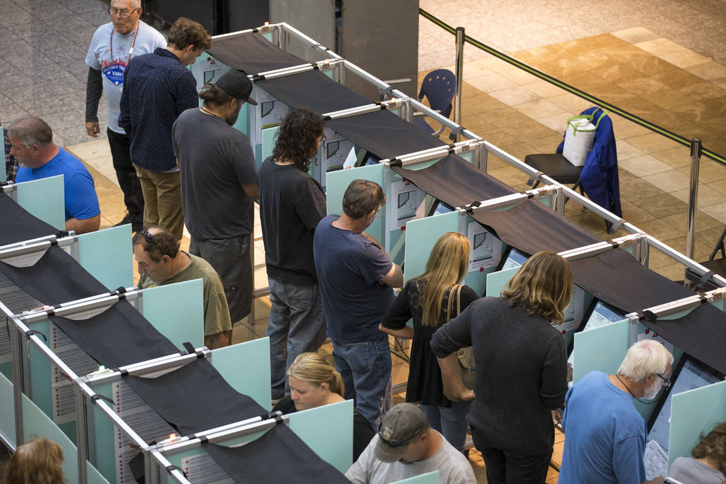 People cast their votes on the third day of early voting at the Galleria at Sunset in Henderson on Monday, Oct. 22, 2018. Richard Brian Las Vegas Review-Journal @vegasphotograph