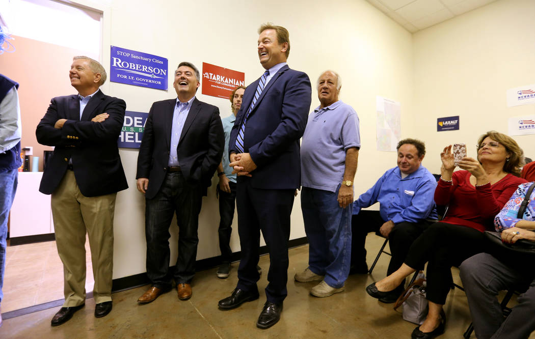 Sen. Lindsey Graham, R-S.C., from left, Sen. Cory Gardner, R-Colo., and Sen. Dean Heller, R-Nev., during a campaign event for Heller and 3rd Congressional District candidate Danny Tarkanian at the ...