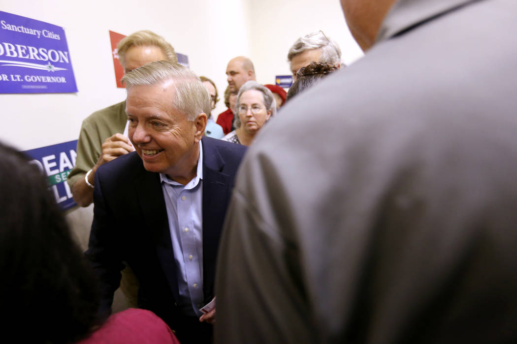 U.S. Sen. Lindsey Graham, R-S.C., during a campaign event for U.S. Sen. Dean Heller, R-Nev., and 3rd Congressional District candidate Danny Tarkanian at the Nevada GOP Victory Office in Henderson ...