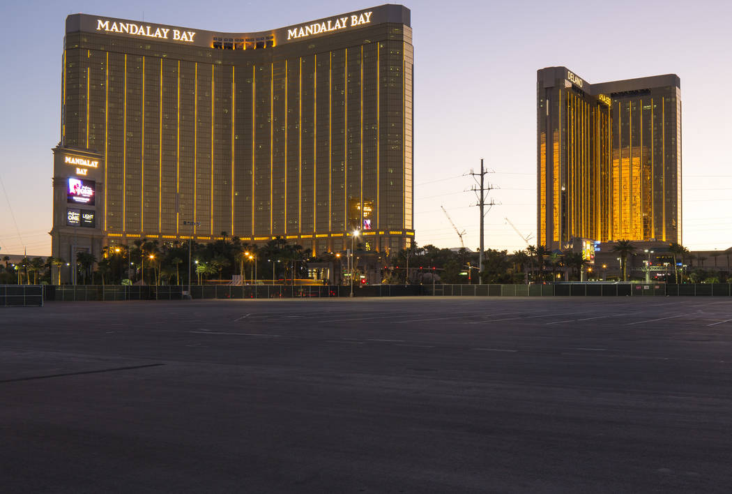 Mandalay Bay, left, and Delano are seen from Las Vegas Village, site of the Route 91 Harvest festival shooting, on the Las Vegas Strip on Tuesday, Sept. 25, 2018. Richard Brian Las Vegas Review-Jo ...