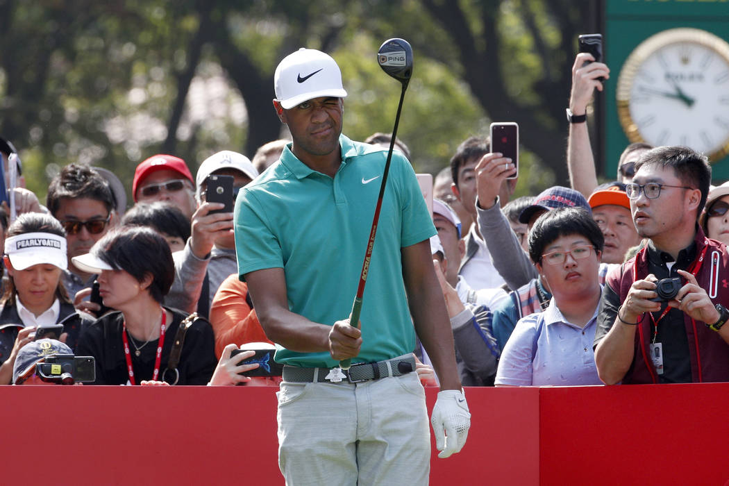 Tony Finau of the US prepares to tee off during the HSBC Champions golf tournament held at the Sheshan International Golf Club in Shanghai, Thursday, Oct. 25, 2018. This year HSBC Champions at She ...