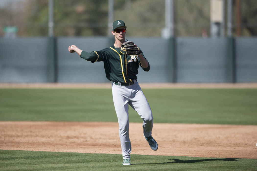 Oakland Athletics infielder Eli White (13) during Spring Training Camp on February 24, 2018 at Lew Wolff Training Complex in Mesa, Arizona. (Zachary Lucy/Four Seam Images via AP Images)