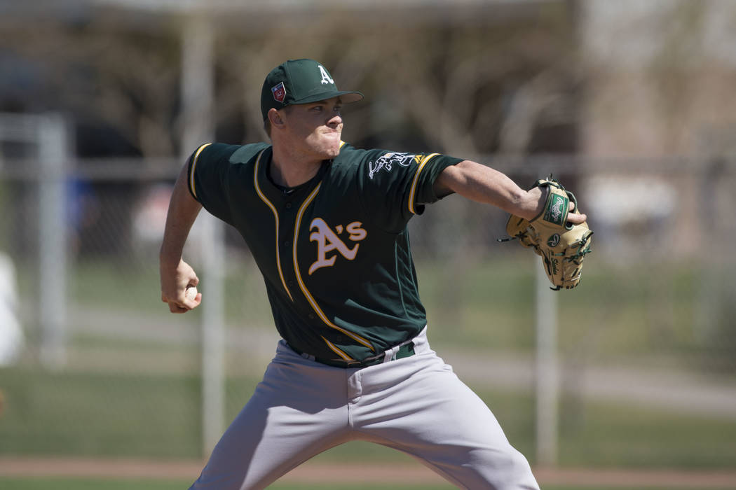 Oakland Athletics relief pitcher Sam Sheehan (68) during a Minor League Spring Training game against the Chicago Cubs at Sloan Park on March 19, 2018 in Mesa, Arizona. (Zachary Lucy/Four Seam Imag ...