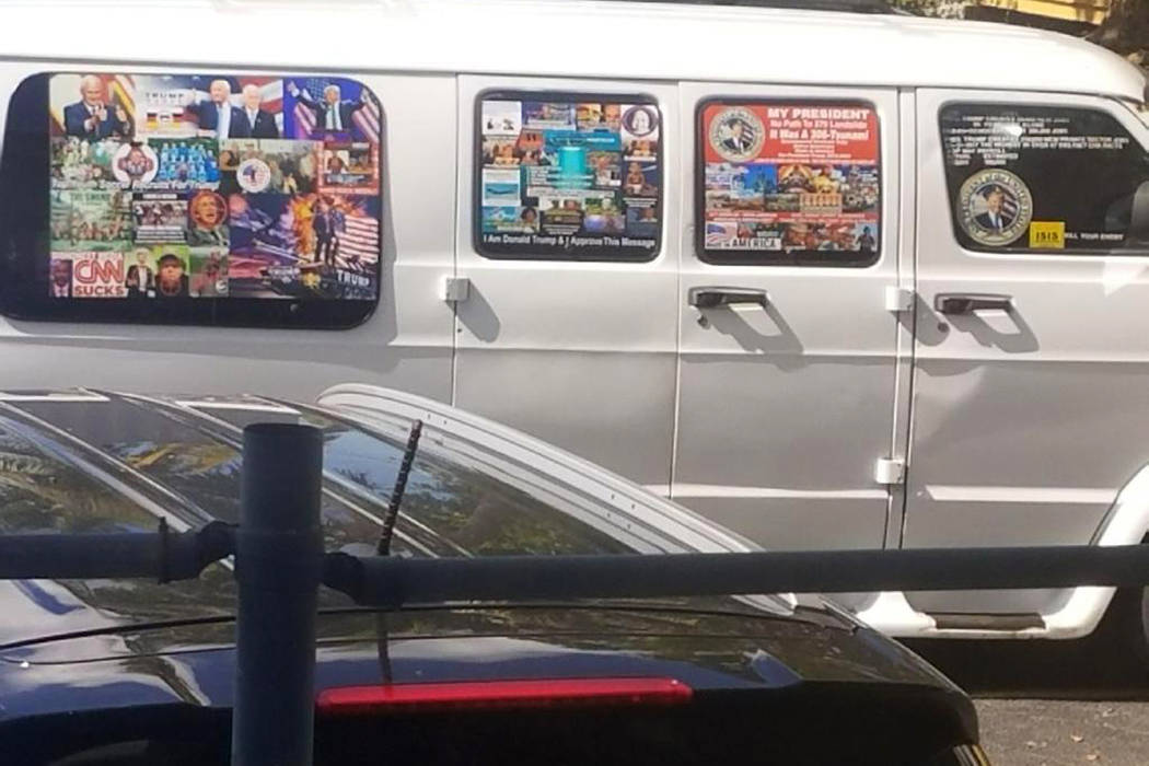 A van with windows covered with an assortment of stickers in Well, Fla. on Nov. 1, 2017. Federal authorities took Cesar Sayoc into custody on Friday, Oct. 26, 2018, and confiscated his van, which ...