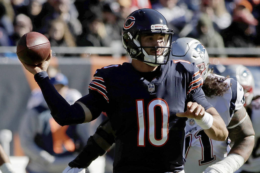 Chicago Bears quarterback Mitchell Trubisky (10) throws during the first half of an NFL football game against the New England Patriots Sunday, Oct. 21, 2018, in Chicago. (AP Photo/Nam Y. Huh)