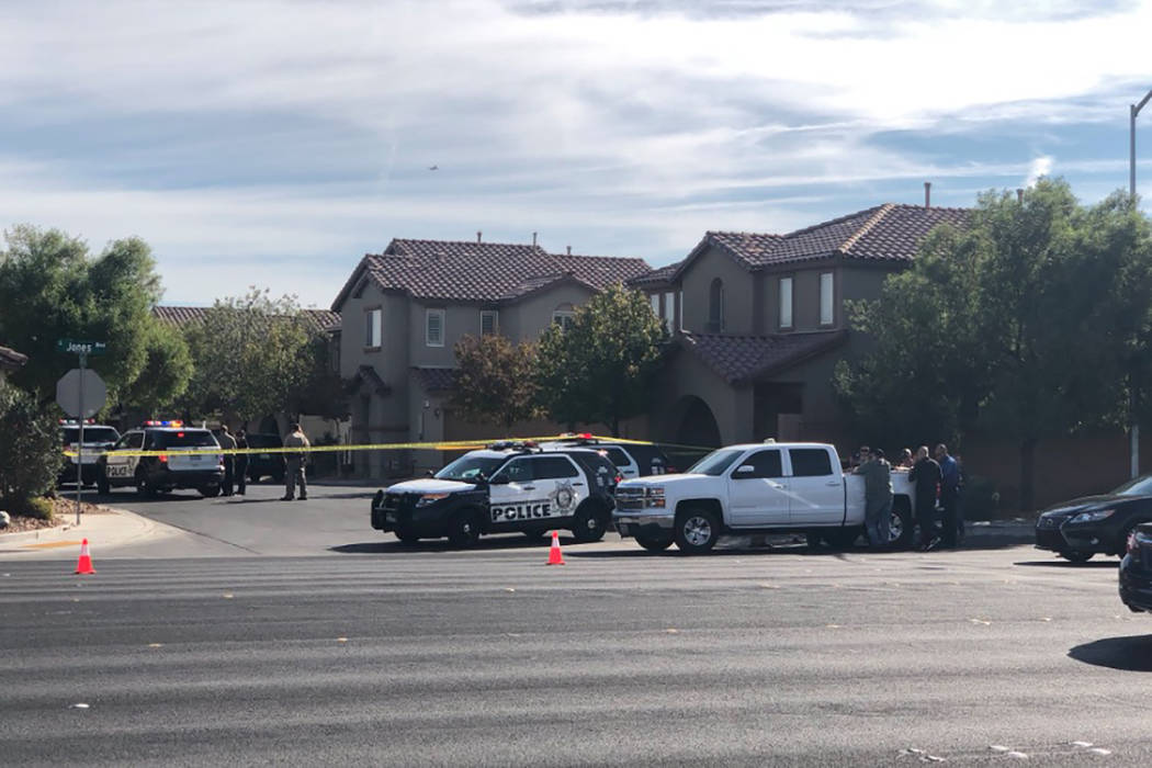 Police are investigating a shooting in the southwest valley Saturday morning that left one person in critical condition, Las Vegas police said. (Katelyn Newberg/Las Vegas Review-Journal) @vegaspho ...