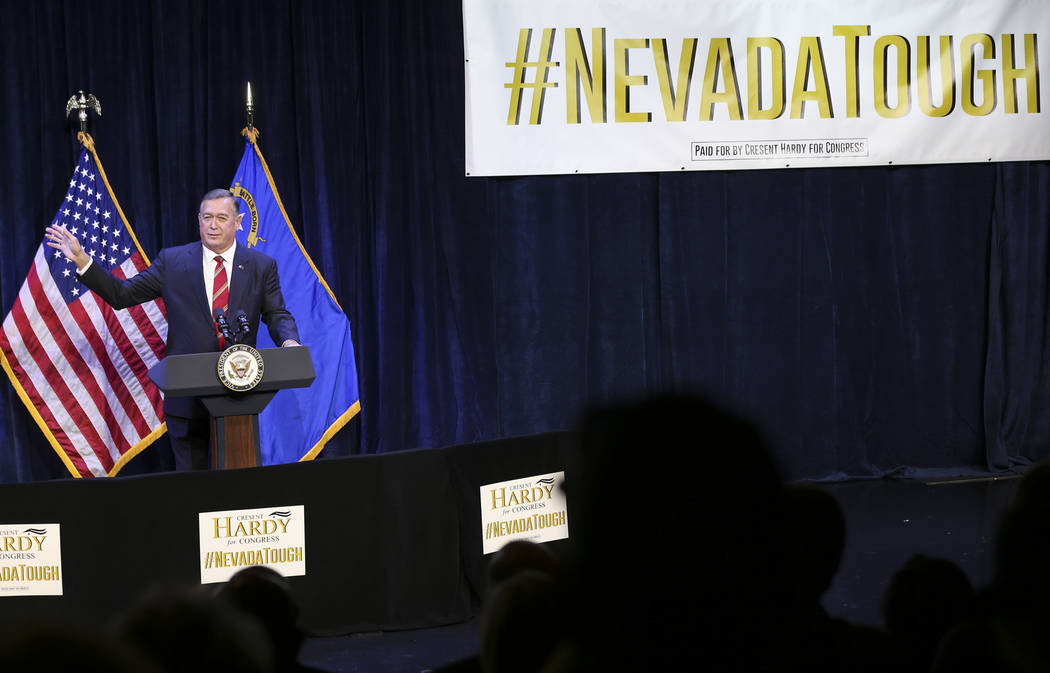 Cresent Hardy, Republican candidate for the 4th Congressional District, speaks during a campaign event at the Sands Showroom in The Venetian in Las Vegas on Saturday, Oct. 27, 2018. Chase Stevens ...
