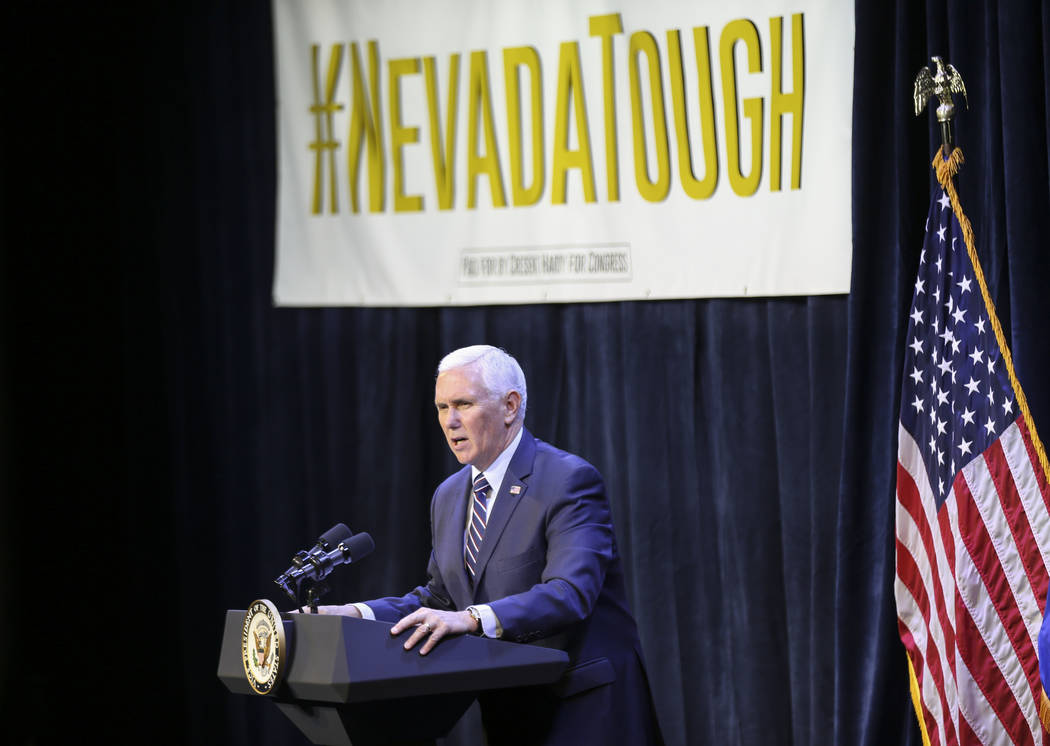 Vice President Mike Pence speaks in support of Cresent Hardy, Republican candidate for the 4th Congressional District, during a campaign event at the Sands Showroom in The Venetian in Las Vegas on ...