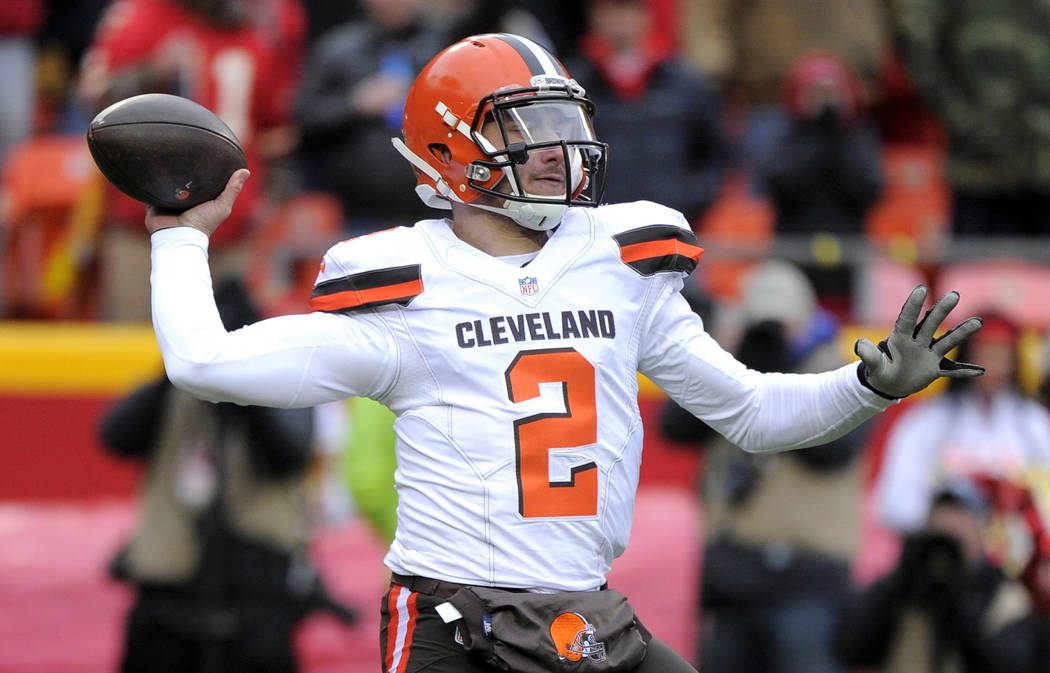 FILE - In this Dec. 27, 2015, file photo, Cleveland Browns quarterback Johnny Manziel (2) throws during the first half of an NFL football game against the Kansas City Chiefs in Kansas City, Mo. Ma ...