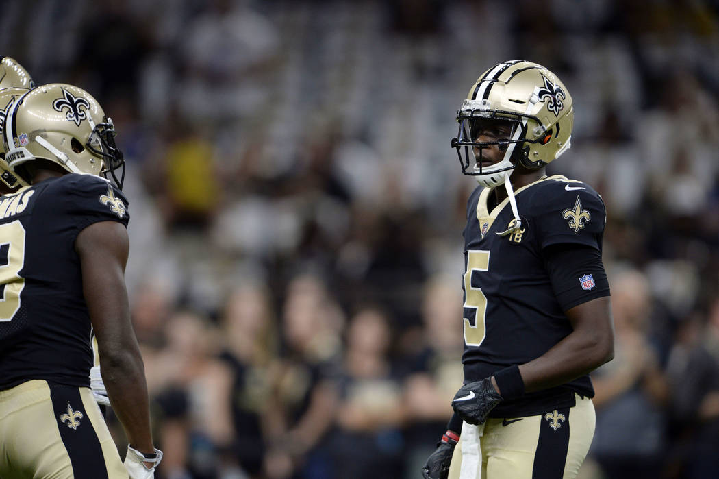 New Orleans Saints quarterback Teddy Bridgewater (5) warms up before an NFL football game against the Tampa Bay Buccaneers in New Orleans, Sunday, Sept. 9, 2018. (AP Photo/Bill Feig)