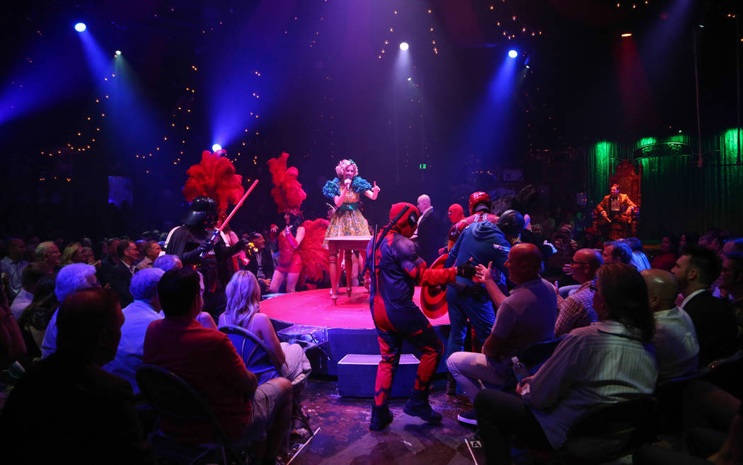 "A group of buskers from the Strip join the finale of ""Absinthe's"" 4,000th performance at Caesars Palace on Friday, Oct. 26, 2018. (Gabe Ginsberg/Spiegelworld)"