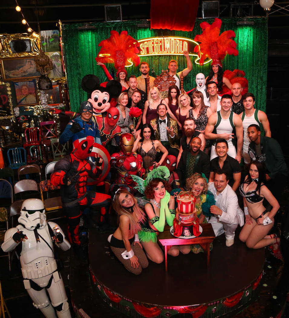 "A group of buskers from the Strip are shown with the cast of ""Absinthe"" after the show's 4,000th performance at Caesars Palace on Friday, Oct. 26, 2018. (Gabe Ginsberg/Spiegelworld)"