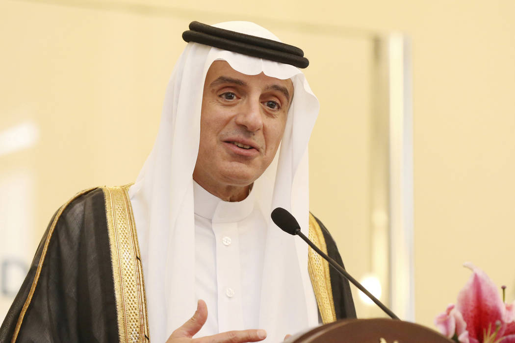 Saudi Arabia's Foreign Minister Adel al-Jubeir speaks to journalists during a joint press conference with Indonesian Foreign Minister Retno Marsudi after their meeting in Jakarta, Indonesia on ues ...