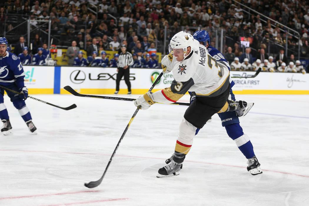 Vegas Golden Knights defenseman Brayden McNabb (3) takes a shot at the goal during the third period of an NHL game at T-Mobile Arena in Las Vegas, Friday, Oct. 26, 2018. Erik Verduzco Las Vegas Re ...