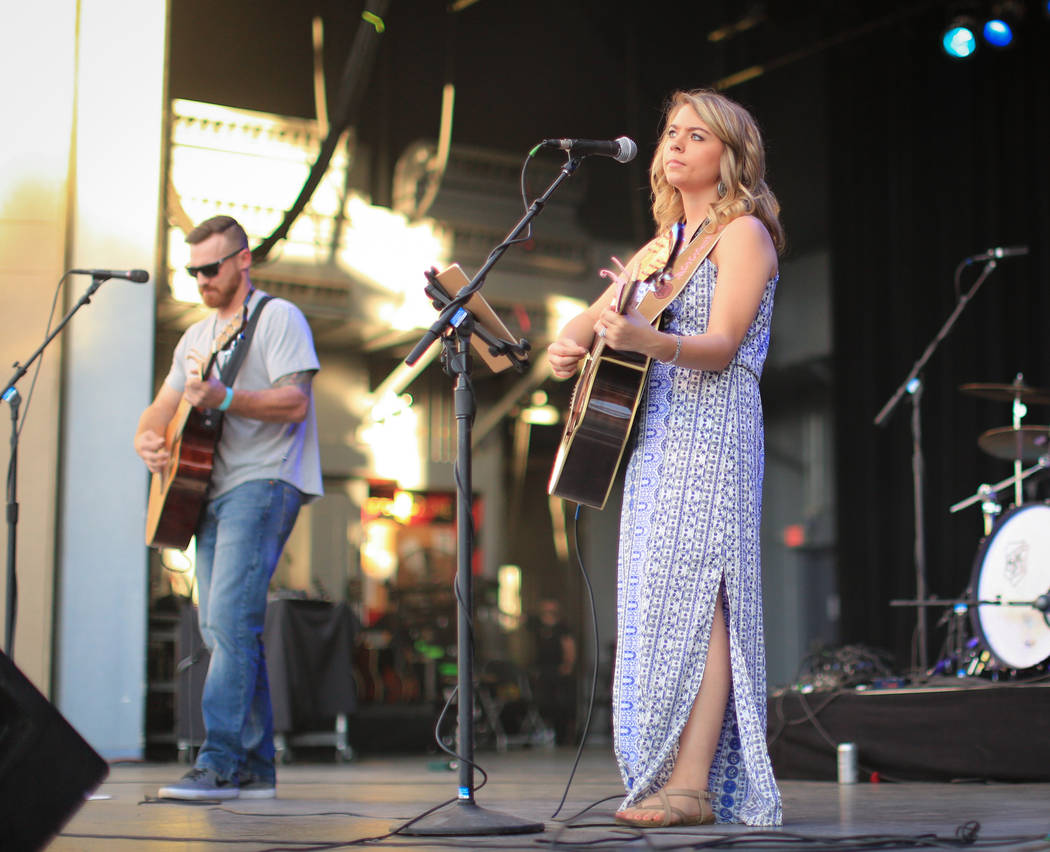 Alyssa Oeder performs a set at the Country 58 Benefit Concert at the Henderson Pavilion on Saturday, Oct. 27, 2018. The Country 58 concert was put on to help those affected by the Route 91 shootin ...