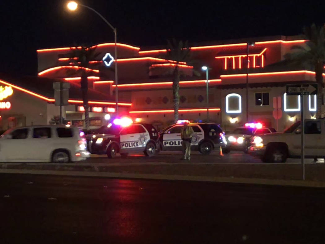 There was a heavy Las Vegas police presence on Boulder Highway near Flamingo Road on Saturday, Oct. 27, 2018. (Rio Lacanlale/Las Vegas Review-Journal)