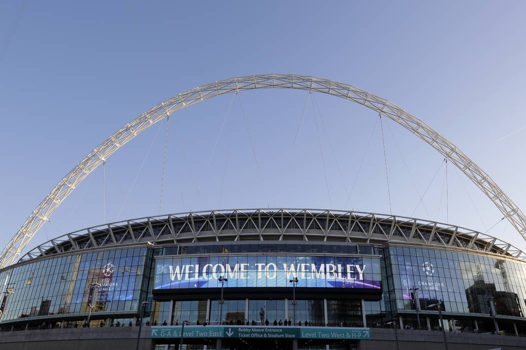 This Wednesday, Oct. 3, 2018, file photo, shows a view of the exterior of Wembley Stadium in London. (AP Photo/Kirsty Wigglesworth, File)