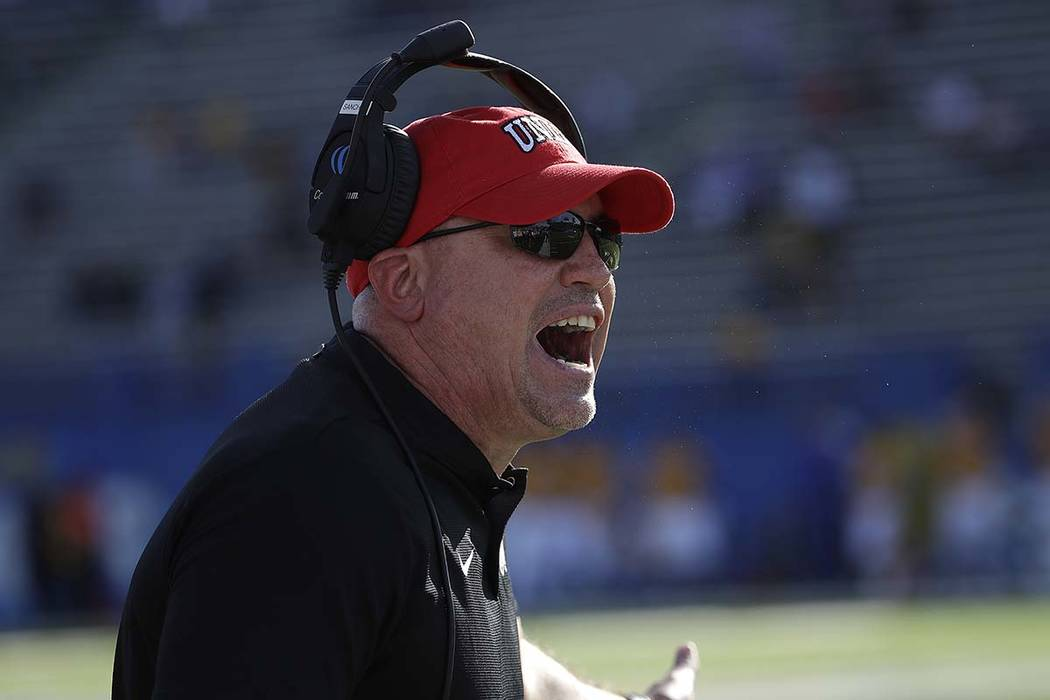 UNLV head coach Tony Sanchez yells toward officials during the first half of an NCAA college football game against San Jose State in San Jose, Calif., Saturday, Oct. 27, 2018. (AP Photo/Jeff Chiu)