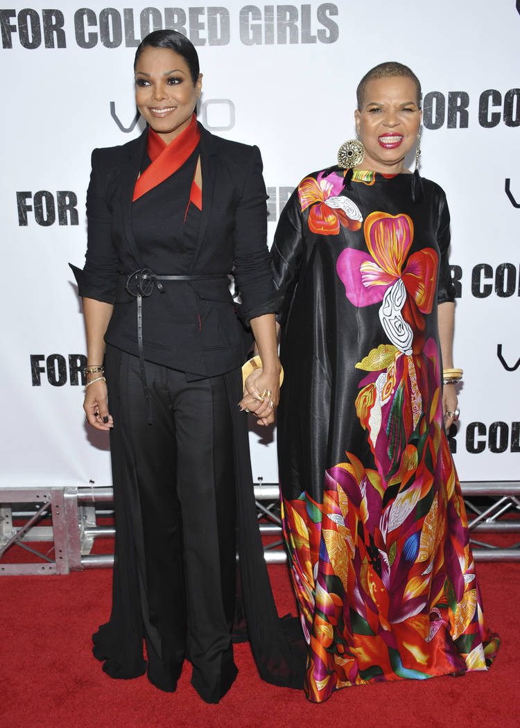 "Actress Janet Jackson, left, and author Ntozake Shange attend a special screening of ""For Colored Girls"" at the Ziegfeld Theatre in New York on Oct. 25, 2010. Playwright, poet and author Ntozake S ..."
