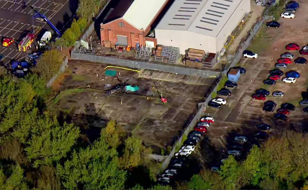 In this image made from video provided by Sky News, the site of a helicopter crash is seen near a carpark by the King Power stadium in Leicester, England, Sunday, Oct. 28, 2018. A helicopter belon ...