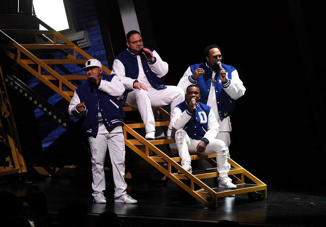 """All-4-One perform at the premiere of """"I Love the 90s — The Vegas Show"""" at Paris Las Vegas on Oct. 25, 2018, in Las Vegas. (Photo by Denise Truscello/WireImage)"""