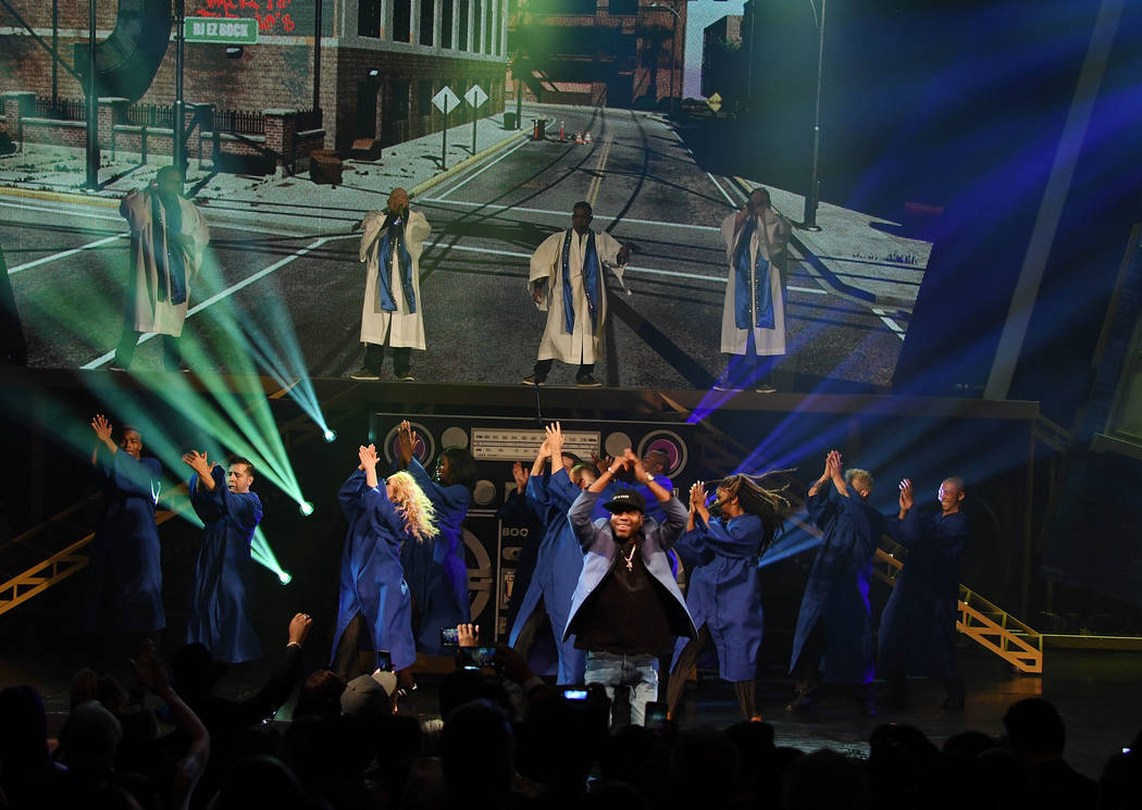 """Rob Base performs at the premiere of """"I Love the 90s — The Vegas Show"""" at Paris Las Vegas on Oct. 25, 2018 in Las Vegas. (Photo by Denise Truscello/WireImage)"""