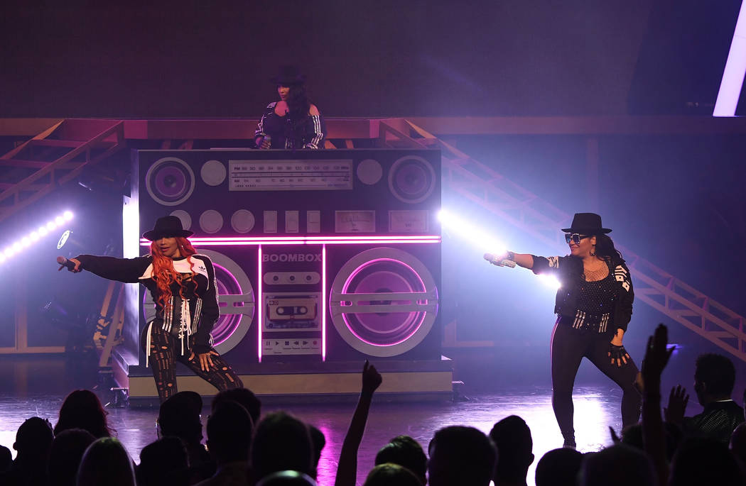 """Salt-N-Pepa perform at the premiere of """"I Love the 90s — The Vegas Show"""" at Paris Las Vegas on Oct. 25, 2018, in Las Vegas. (Denise Truscello/WireImage)"""