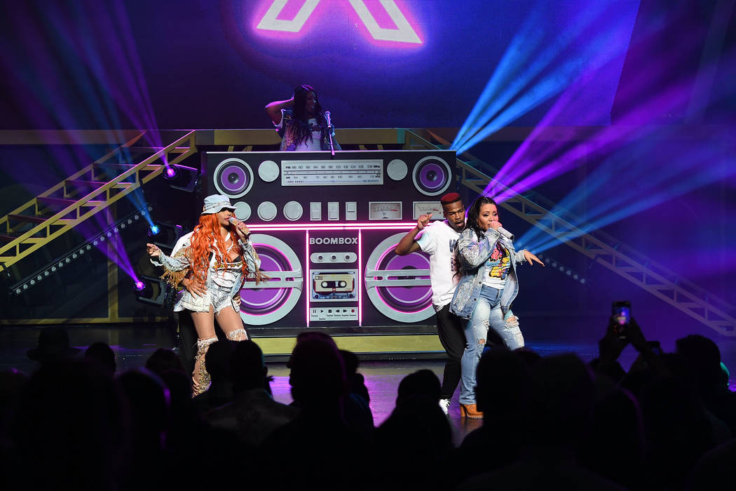 """Salt-N-Pepa and Spinderella perform at the premiere of """"I Love the 90s — The Vegas Show"""" at Paris Las Vegas on Oct. 25, 2018 in Las Vegas. (Photo by Denise Truscello/WireImage)"""