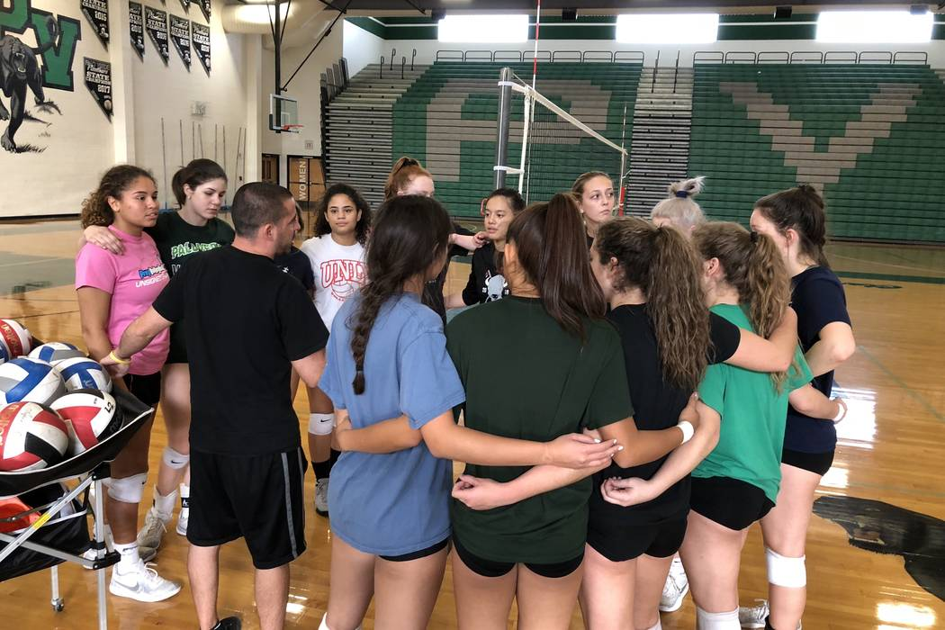 Palo Verde volleyball players gather during practice on Saturday, October 27th, at Palo Verde High School. Sam Gordon/Las Vegas Review-Journal