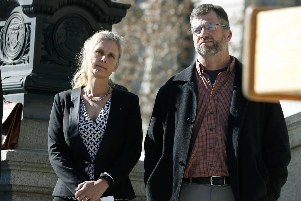 In this Feb. 19, 2015 file photo Hope, left, and Mike Reilly of Pueblo, Colo., attend a news conference in reaction to the announcement that a federal lawsuit is being filed on behalf of the coupl ...