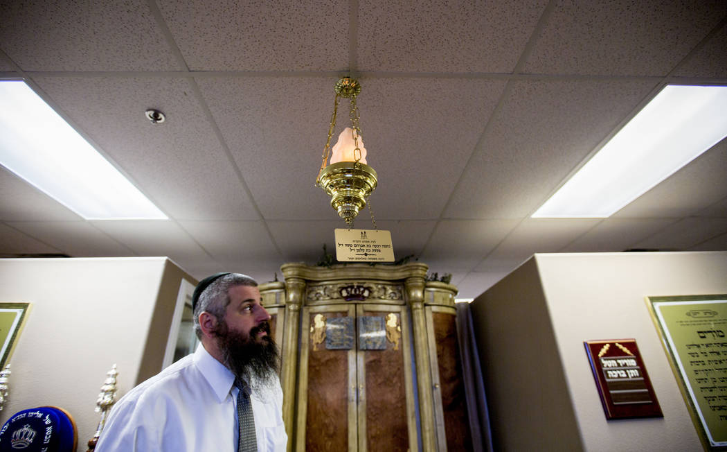 Rabbi Mendy Harlig of Chabad of Green Valley, stands in his synagogue in in Henderson in 2016. (Elizabeth Page Brumley/Las Vegas Review-Journal)