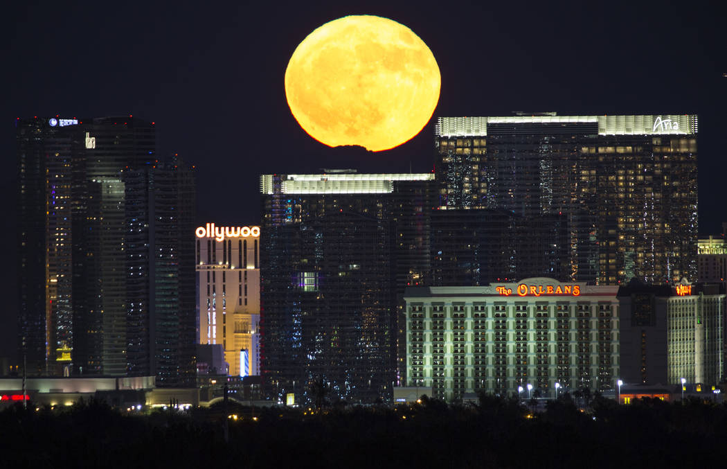 A Hunter's Moon rises over the Strip in Las Vegas on Wednesday, Oct. 24, 2018. Richard Brian Las Vegas Review-Journal @vegasphotograph