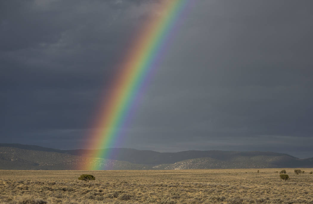 A rainbow appears in front of the Humboldt mountain range as seen from the Great Basin Highway south of Wells, Nev., early Sunday, Oct. 21, 2018. Richard Brian Las Vegas Review-Journal @vegasphoto ...