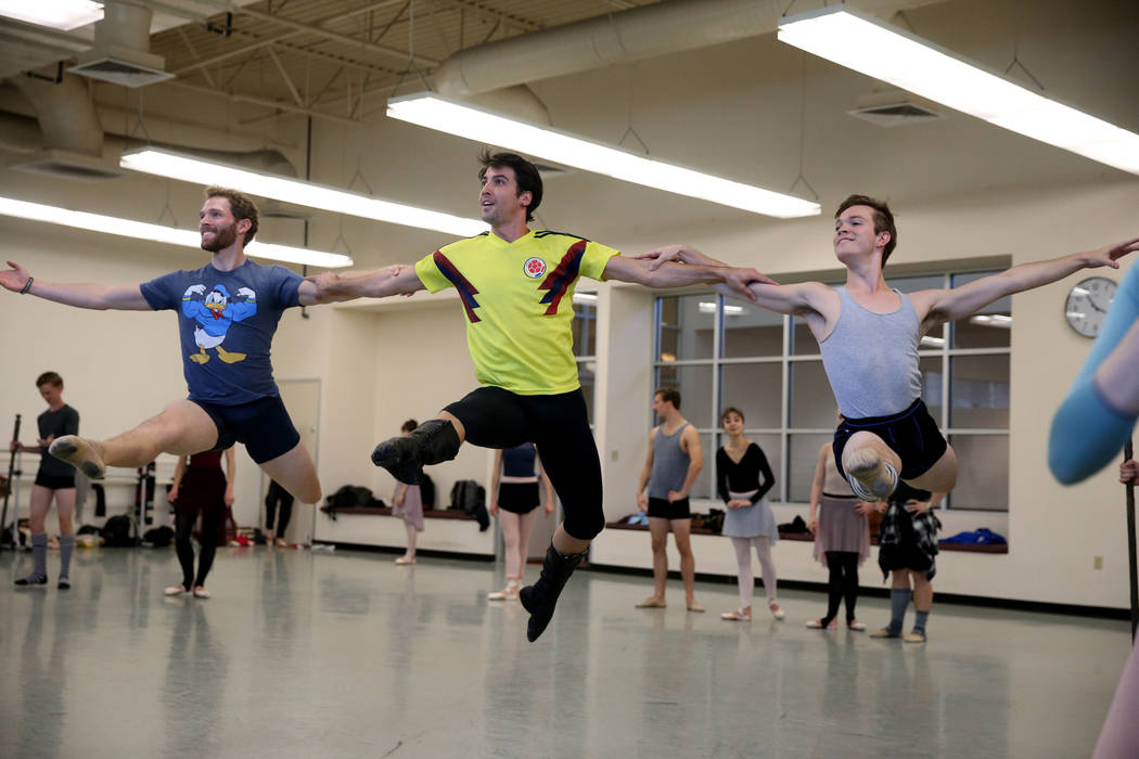 Dancers, from left, Benjamin Tucker, Sergio Alvarez and Michael Caye rehearse Dracula at Nevada Ballet Theater studio in Summerlin Thursday, Oct. 18, 2018. K.M. Cannon Las Vegas Review-Journal @KM ...