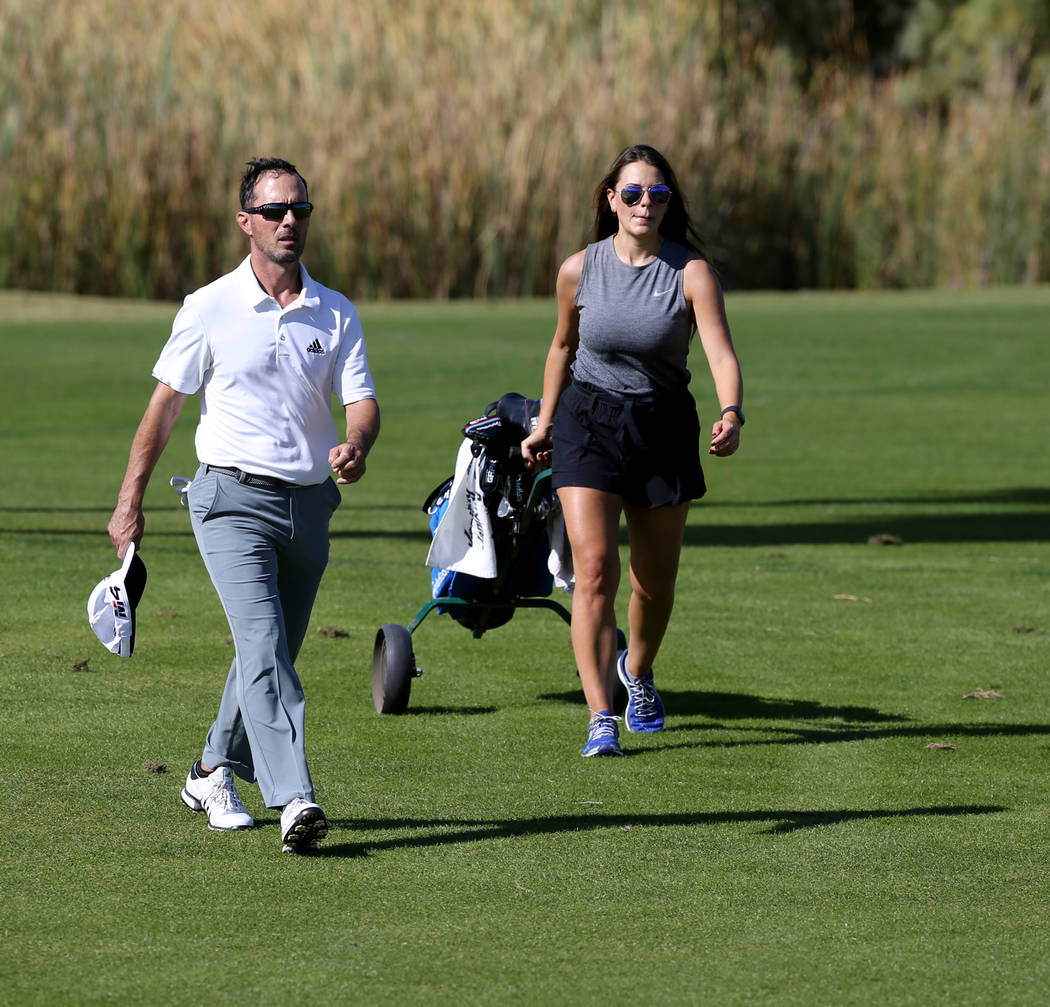 Former Masters champion Mike Weir works his way up the fairway on hole one during the Shriners Hospital for Children Open qualifier at Boulder Creek Golf Cub in Boulder City Monday, Oct. 29, 2018. ...
