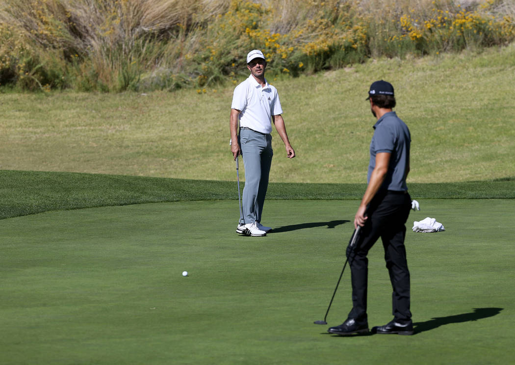 Former Masters champion Mike Weir watches his putt just miss on hole one during the Shriners Hospital for Children Open qualifier at Boulder Creek Golf Cub in Boulder City Monday, Oct. 29, 2018. W ...