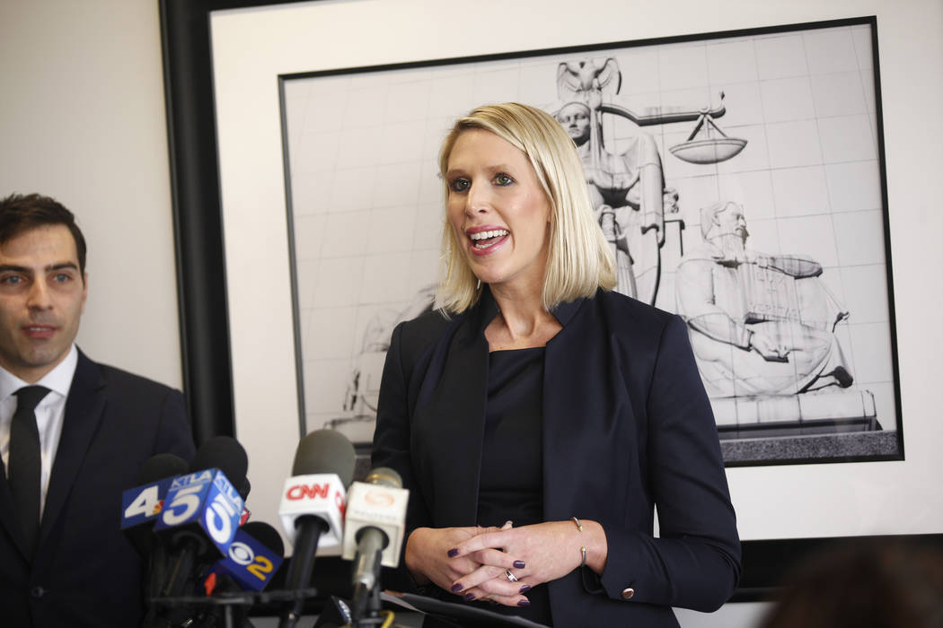 Michelle Simpson Tuegel, an attorney for Tasha Schwikert-Warren and Jordan Cobbs, addresses the media at the offices of Panish Shea & Boyle in Los Angeles on Monday, Oct. 29, 2018. Rachel Aston La ...