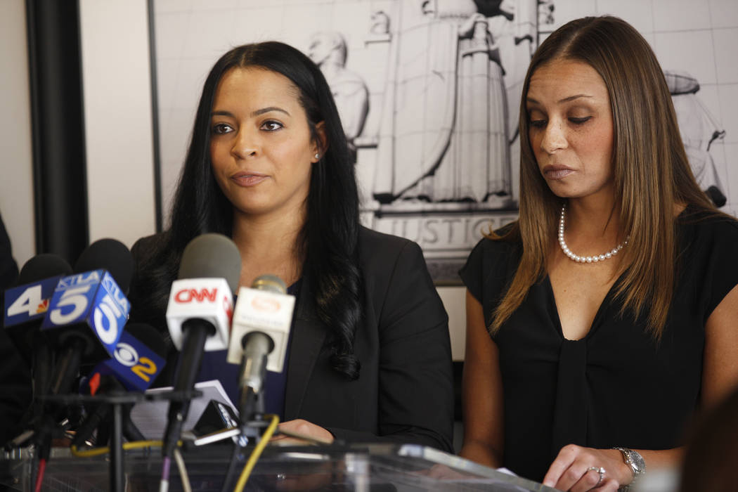 Tasha Schwikert-Warren, left, addresses the media next to her sister, Jordan Cobbs, at the offices of Panish Shea & Boyle in Los Angeles on Monday, Oct. 29, 2018. Rachel Aston Las Vegas Review-Jou ...