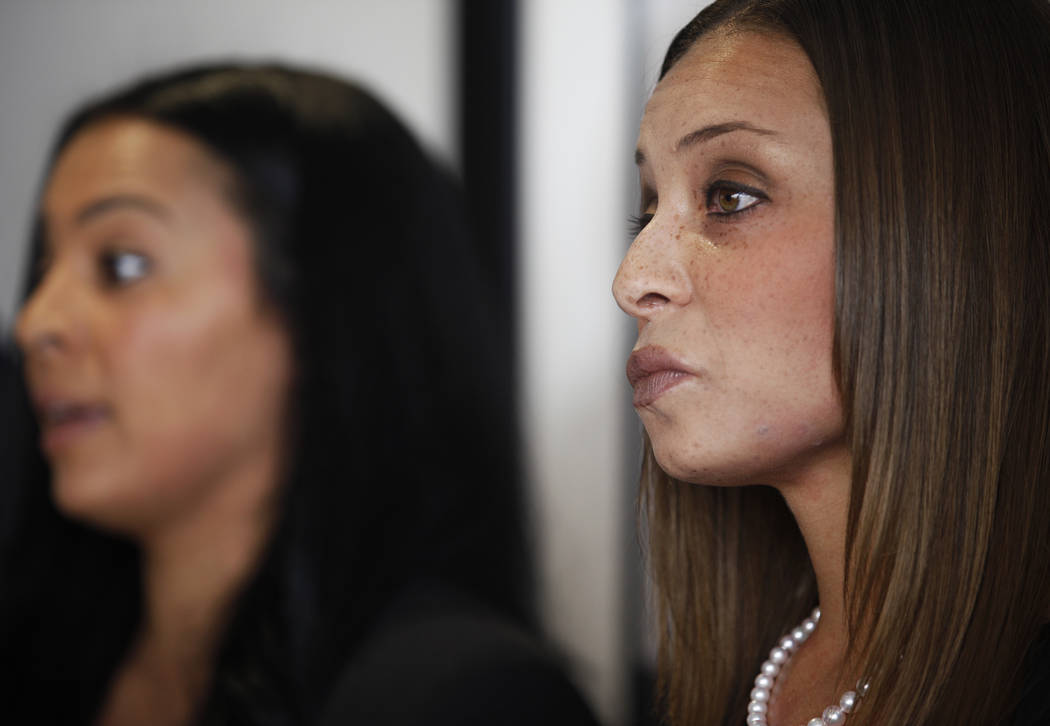Tasha Schwikert-Warren, left, addresses the media as her sister, Jordan Cobbs, right, listens at the offices of Panish Shea & Boyle in Los Angeles, Monday, Oct. 29, 2018. Rachel Aston Las Vegas Re ...